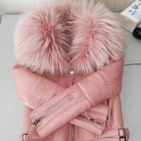 Luxury Genuine Real Large Raccoon Fur Collar Wool Lined Coat for Women Natural Sheepskin Leather Shearling Jackets Pink Green