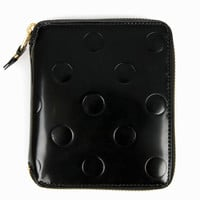 Comme des Garcons Medium Zip-Around Wallet w/Embossed Polkadots - Black - SA2100NE - WOMEN - Comme des Garcons