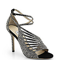Jimmy Choo - Florry Studded Suede Strappy Sandals - Saks Fifth Avenue Mobile