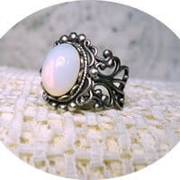Ring - White Opal Ring - Silver Ring - Vintage Style - Adjustable Ring - Sale - Free Shipping