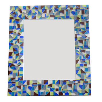 Mosaic Wall Mirror // Decorative Mirror // Brown, Lime Green, Blue, Gray