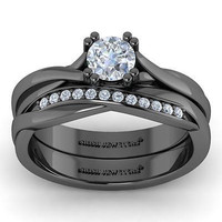 AMAZING 1.25CT WHITE ROUND 925 BLACK STERLING SILVER ENGAGEMENT AND WEDDING RING