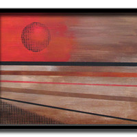 Abstract modern landscape painting of the sun in vibrant red and oranges over browns reproduction prints, choice of sizes and finish