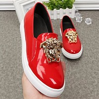 Versace Fashion new couple shoes flat white shoes round head casual heighten shoes Black