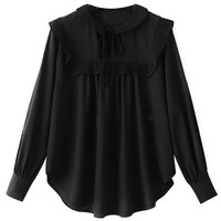 Black Long Sleeve Chiffon Blouse