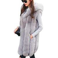 Women Faux Fur vest New Fashion Fur Vest Women In The Long Section 2017 High Quality Autumn And Winter New Products Soft