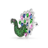 Bling Jewelry Fancy Peacock Brooch