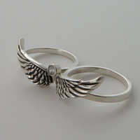 Exclusive Double Silver Angel Ring