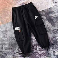 NIKE Fashion New Letter Hook Print Seven Points Women Men Pants Black