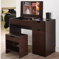 Furniture of America Laurel Multi-Storage Vanity Table with Mirror and Stool | Overstock.com Shopping - The Best Deals on Bedroom Mirrors