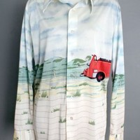 1970's Men's Vintage Fire Fighter Shirt By Hukapoo :
