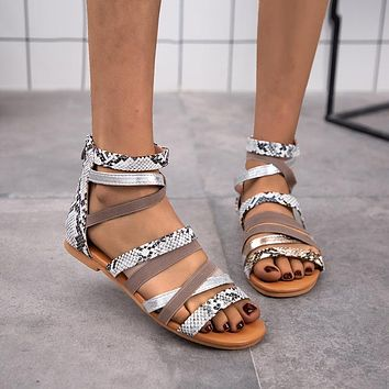 Fashion woven Roman sandals women's summer thin strap flat shoes