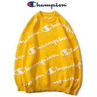 Champion New fashion more letter print long sleeve top sweater Yellow