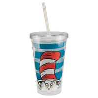 "Vandor 17351 Dr. Seuss ""Cat in the Hat"" 18 oz Acrylic Travel Cup with lid and Straw, Multicolor"