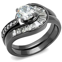 Engagement Rings For Women TK2546 Light Black Stainless Steel Ring with CZ