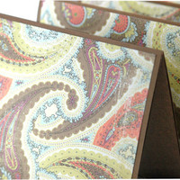 Paisley stationery brown and coral handmade note by ecoPaperie