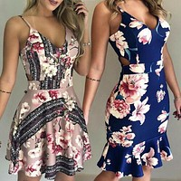 Sexy Sleeveless Floral Dress Women Summer Boho Short Mini Dress Evening Party Beach Holiday Sundress