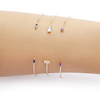 Faux Gem Cuff Set
