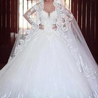 Joky Quaon Gorgeous Autumn Winter Full Sleeve Chapel Train Organza Ball Gown Bride Dress Long Fitted Plus Size Imported China
