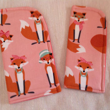 Fancy Foxes Pink Sunglass Case or Eyeglass Case Slide in Pouch Choose Your Size