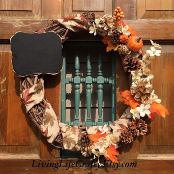 SALE, Fall Wreath, Rustic Home Decor Fall Wreath - Harvest Wreath -  Door Hanger - Autumn Rustic Wreath, Autumn Home Decor  - Ready to Shi