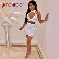 PinePear New 2019 Women Shiny Rhinestone Diamond Dress Sexy Hollow Out Sleeveless Backless Night Out Outfits Party Club Vestidos