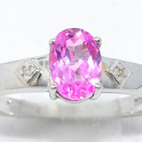 1.5 Carat Pink Sapphire Oval Diamond Ring .925 Sterling Silver Rhodium Finish White Gold Quality