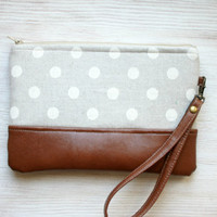 Polka dot grey wristlet Clutch Purse Vegan Faux leather Retro Minimalist