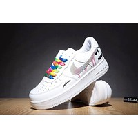 Samplefine2 Nike Air Force Popular Women Men Leisure Rainbow Lace-Up Sport Running Shoe Sneakers White+Rainbow Hook I-CQ-YDX