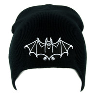 White Vampire Bat Beanie Knit Cap Dark Goth Alternative Clothing Dracula Nosferatu