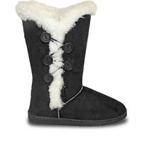 Women's 13-inch 5-Button Microfiber Boots - Black (Special Offer)