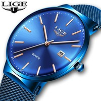 Mens Watches LIGE Top Brand Luxury Blue Waterproof Wrist Watches Ultra Thin Date Simple Casual Quartz Watch For Men Sports Clock