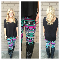 Mint & Magenta Flock of Seagulls Leggings