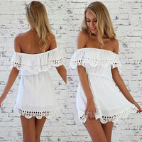 2017 Summer Hottest Strapless Styln Short Sleeve  Beach Dress