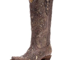 Corral Brown Crater Bone Inlay & Studs Snip Toe Boots A1098