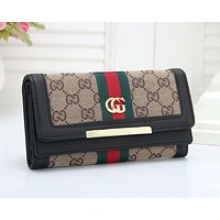 Gucci classic red and green stripes GG embossing fashion long wallet clutch bag