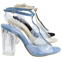 Natalie01 By Wild Diva, Clear Perspex Block Heel w T-Strap & Lucite Transparent Straps