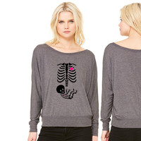 Full Maternity Skeleton X ray MP - Copy women's long sleeve tee