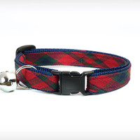 """Cat Collar - """"Interstate Love Song"""" - Plaid w/ Red, Hunter Green & Blue on Navy"""