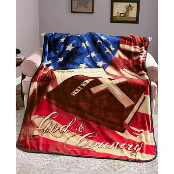 "Super Soft Plush Patriotic Jumbo 60"" x 80"" Thick Warm Sherpa Throw"