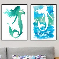 Girls Room Decor Watercolor Mermaid Print And Poster Hand Drawn Wall Art Picture Print on Canvas Nordic Style Kids Room Decor
