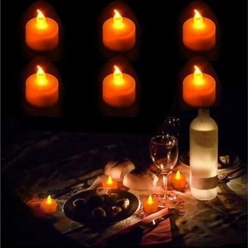 Flickering 6 Flicker Light Flameless LED Tealight Tea Candles Wedding Party Decorative Light (Size: 70 g, Color: White) [7983364999]