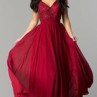 Long V-Neck Burgundy Red Prom Dress with Lace Bodice