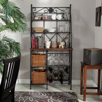 Classic Dark Metal & Wood Kitchen Dining Bakers Rack with Baskets