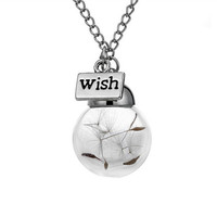 Glass Bottle Natural Wish Necklace