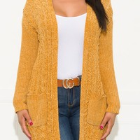 Winter Nights Cardigan Sweater Mustard