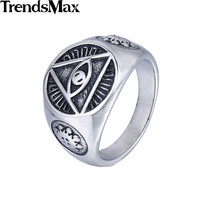Illuminati Pyramid Eye Symbol - Stainless Steel or Gold Color Signet Ring
