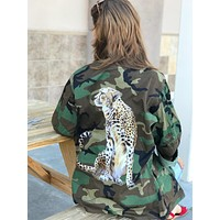 Cheetah Camo Jacket on Authentic Vintage Army Jacket Military Button Down Shirt Jacket All Sizes