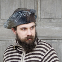 Unique felted hat, classic tricorn, pirate hat, carnival or festival hat,unisex. OOAK