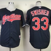 Cleveland Indians #33 Swisher Navy BLue Flexbase Collection Cool Base Stitched Jerseys MLB Baseball Jersey